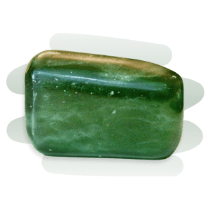 Green Jade tumble stone that is rectangular in shape and opaque emerald green in colour.