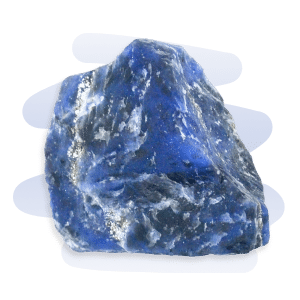 Sodalite is a dark blue stone with white Calcite veins and small black inclusions.
