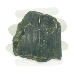 Epidote is a transparent to opaque prismatic crystal with elongated striations.