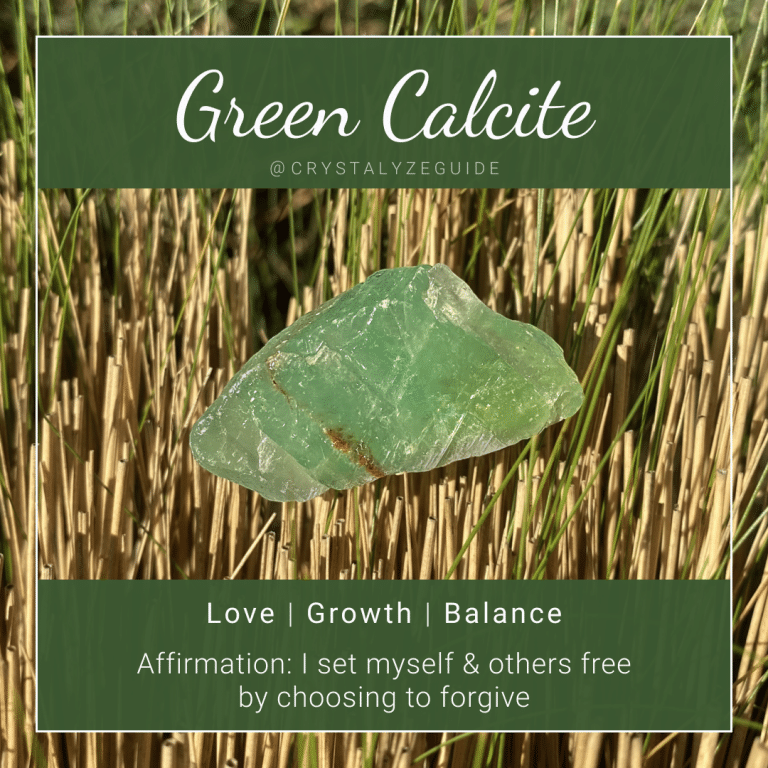 Green Calcite properties are Love, Growth and Balance with affirmation stating I set myself and others free by choosing to forgive.