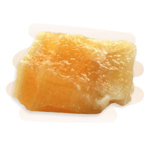 Orange Calcite is translucent to opaque, bright orange waxy stone that may contain white streaks.