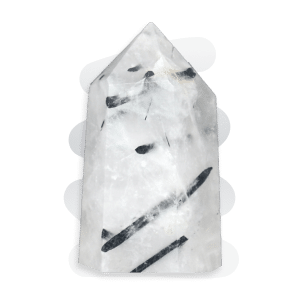 Tourmalinated Quartz is a transparent Clear Quartz crystal containing inclusions of Black Tourmaline, often in needle-like strands.