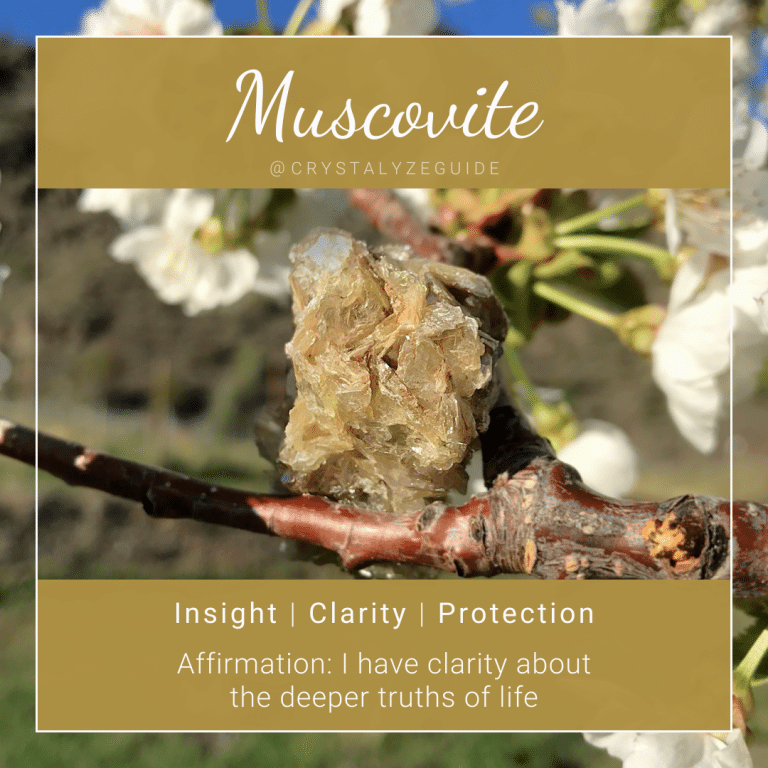 Muscovite crystal properties are Insight, Clarity and Protection with affirmation stating I have clarity about the deeper truths of life.