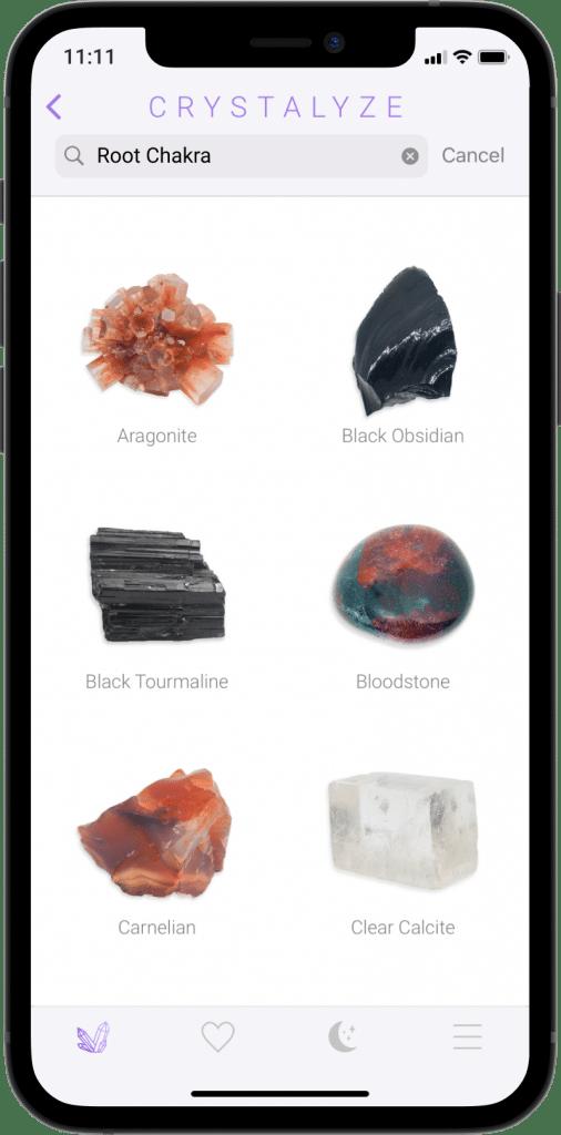 Root Chakra Screen of Crystalyze App