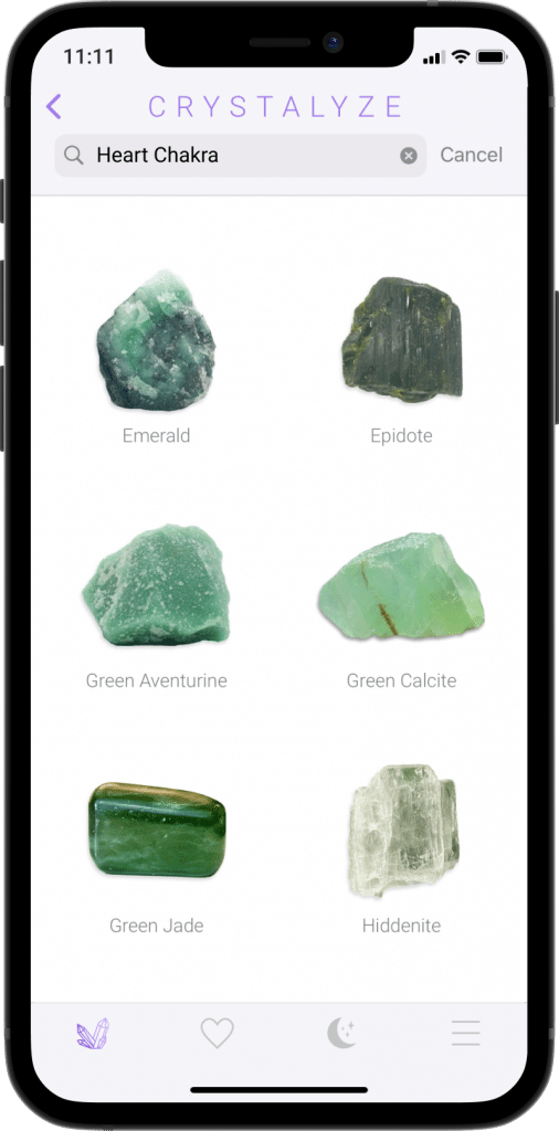 Heart Chakra Screen of Crystalyze App