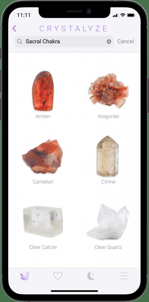Sacral Chakra Screen of Crystalyze App