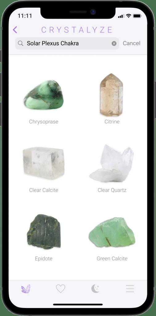 Solar Plexus Chakra Screen of Crystalyze App