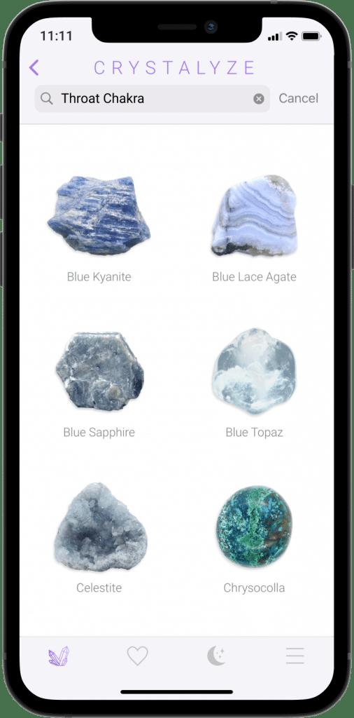 Throat Chakra Screen of Crystalyze App