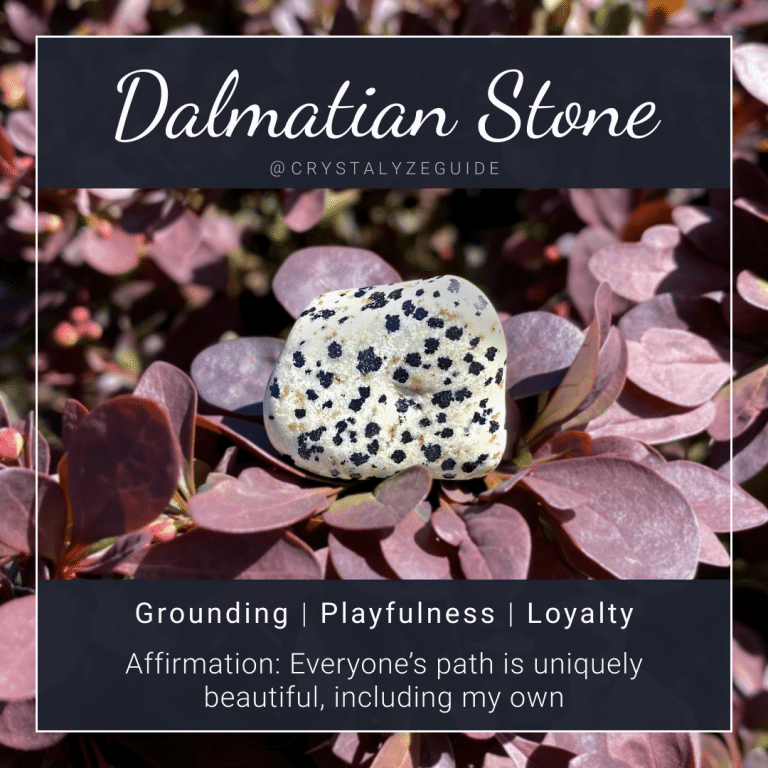 Dalmatian Stone crystal properties are Grounding, Playfulness, and Loyalty with affirmation stating Everyone's path is uniquely beautiful, including my own.