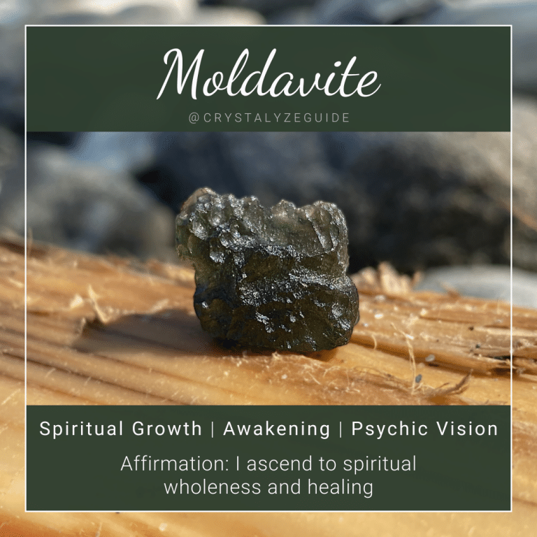 Moldavite crystal properties are Spiritual Growth, Awakening, and Psychic Vision with affirmation stating I ascend to spiritual wholeness and healing.