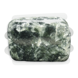Seraphinite is a dense and opaque dark green stone with silver feather patterns.