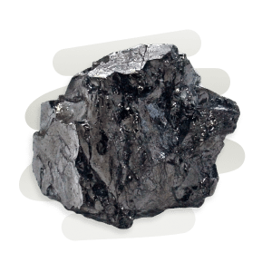 Shungite is a brittle graphite stone that displays a silvery sheen.