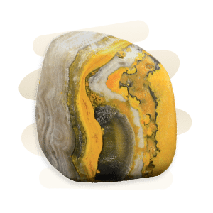 Bumblebee Jasper is yellow, orange with grey and black banding composed of fibrous calcite, realgar, and pyrite.